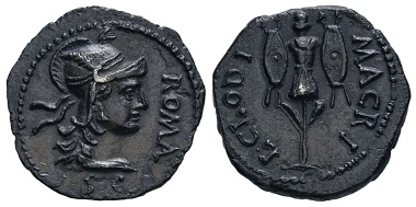 Nr. 216: Römisches Kaiserreich. Clodius Macer, 68 n. Chr. Denar. Karthago. 2,99 g. Ausruf: 40.000,- Euro.