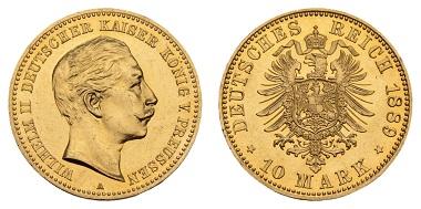 Nr. 845: Deutsches Kaiserreich. Preußen. Wilhelm II., 1888-1918. 10 Mark 1889 A. Ausruf: 7.000,- Euro.