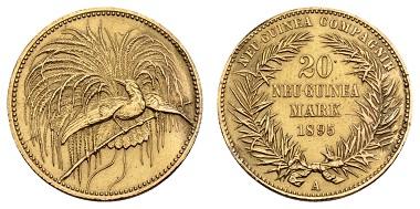 Nr. 916: Deutsche Nebengebiete. Deutsch-Neuguinea. Wilhelm II., 1888-1918. 20 Neu-Guinea Mark 1895 A. Ausruf: 17.500,- Euro.
