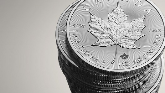The Canadian Silver Maple Leaf bullion coin which is prone to gather white spots. Source: Royal Canadian Mint.