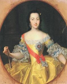 Die junge Katharina II. im Alter von ca. 16 Jahren. Gemälde von Georg Christoph Grooth.