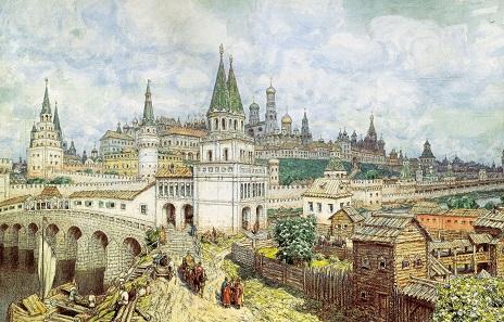 Moskau gegen Ende des 16. Jahrhunderts. Aquarell von Apollinary Vasnetsov.