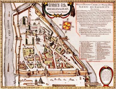Plan des alten Kreml um 1600.