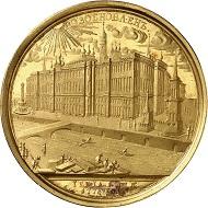 Katharina II. Goldmedaille von T. Iwanoff auf den Bau des neuen Kreml-Palastes. Vermutlich spätere Prägung aus Originalstempeln des 18. Jahrhunderts. Äußerst selten. Vorzüglich bis Stempelglanz. Schätzung: 80.000 Euro. Aus Auktion Künker 306 (23. März 2018), Nr. 7591.