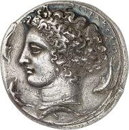 Nr. 177: Syracuse (Sicily). Decadrachm, 405-400 of Kimon. Very rare. Very fine. Estimate: 75,000 Euro.