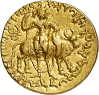 "Nr. 1595: Kushan. Vima Kadphises, 166-230. Double stater. From the collection of a ""Geschichtsfreund"". Extremely rare die combination. Extremely fine. Estimate: 12,500 Euro."