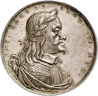 Nr. 2665: RDR. Ferdinand III, 1625-1637-1657. Silver medal n. y. (1637), by G. Pfründt, on occasion of his accession to the throne. Very rare. Extremely fine. Estimate: 5,000 Euro.