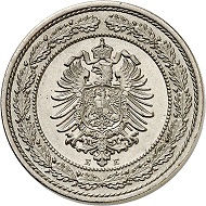 Nr. 6505: German Empire. 20 pfennig 1887 E. Only 50 specimens minted. FDC. Estimate: 8,000 Euro.