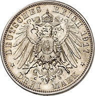 Nr. 6791: German Empire. Saxony. Frederick August III, 1904-1918. Frederick the Wise. 3 mark 1917 E. Very rare. Proof. Estimate: 75,000 Euro.