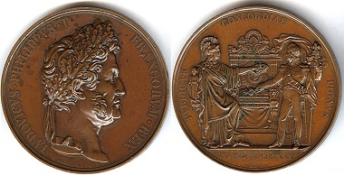 053: France. Louis Philippe, 1830-1848. AE medal 1830. On his accession to the throne. By Alexis Joseph Depaulis. 75mm. Quite rare! XF $450.