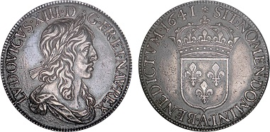 Lot 1: Louis XIII, 1610-1643. Silver ecu of 60 sols, 1641, Paris. EF 45. Estimated: 15,000-20,000 euros. This coin was first struck in December of 1641 and is the very first French silver ecu minted by a screw press. Only 5 or 6 known to exist.