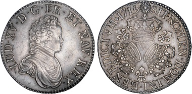 Lot 86: Louis XV, 1715-1774. Ecu with 3 crowns, 1715, Lille. AU 50. Estimated: 15,000-25,000 euros. The very first and by far the rarest of the crown types for Louis XV.