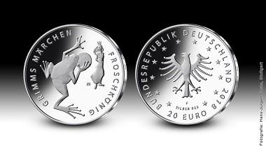 """Die neue Sammlermünze """"Froschkönig""""."""