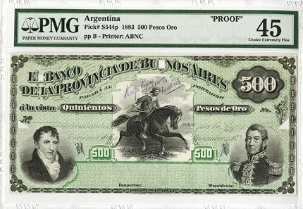 Lot 7: Argentina. 1883. 500 Pesos Oro, P-S544p. Banco De La Provincia De Buenos Aires, 1883. Unique Production Proof Model Banknote. Estimate 700-1,200 USD.