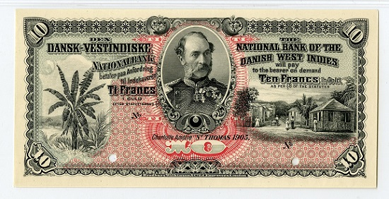 Lot 242: National Bank of Danish West Indies. St. Thomas, DWI, 1905, Banknote 10 Francs in Gold, P-18p. Uniface Proof face, no back. Estimate: 1,250-1,750 USD.