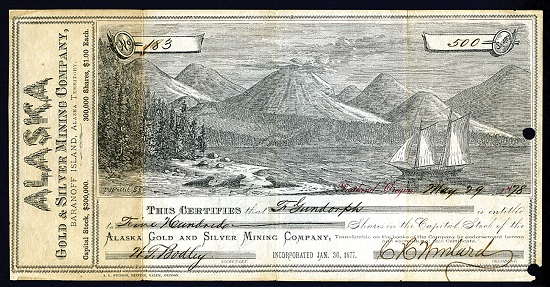 Lot 793: Baranoff Island, Alaska Territory. May 29, 1878, 500 Shares. Certificate #183. Issued and uncancelled stock certificate. Estimate: 3,000-5,000 USD.