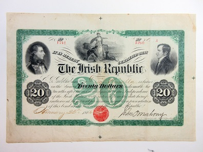 Lot 768: Irish Republic, January 23rd, 1866, $20, Plate A, P-Unlisted, I/U, 6% bond payable 6 months after the Independence of the Irish Nation, Black on green. Estimate: 900-1,800 USD.