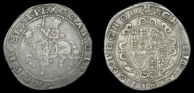 Lot 80. British Coins. Charles I (1625-1649), Exeter mint, Halfcrown, Gp III, 1644, mm. rose, clumsy horseman, no groundline below, rev. oval scroll-garnished shield, mint-mark divides date, 14.27g/4h (Bull 664/30; Besly M30; SCBI Brooker 1047, this coin; N 2564; S 3074). About very fine and toned, very rare. From the Collection of the Late Dr John Hulett (Part IV). Estimate: 2,000-2,600 GBP.