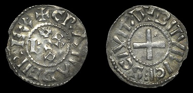 Lot 981. France: Carolingians, Eudes (887-98), Denier, Bourges, gratia dei rex, monogram, rev. bitvrices civita, cross, 1.58g/5h (MG 1328). About very fine, rare. From the Collection of the Late Tony Merson (Part IV). Estimate: 200-300 GBP.