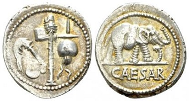 Lot 575: C. Iulius Caesar. Denarius mint moving with Caesar 49-48. Sydenham 1006. XF. Starting Bid: 200 GBP.