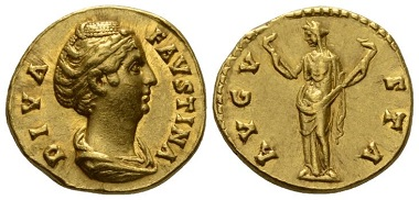 Lot 684: Roman Imperial. Diva Faustina. Aureus after 141.XF. Ex Roma Numismatics sale XIV, 747. Starting Bid: 2,000 GBP.