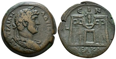 Lot 388: Egypt. Alexandria. Hadrian, 117-138 Drachm circa 134-135 (year 19), AE 33mm. VF +. From the Dattari Collection. Starting Bid: 400 GBP.