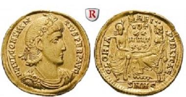 Römische Kaiserzeit. Constantius II., 337-361. Solidus 340-351, Nicomedia. vz, Rand min. bearbeitet. 2.850 Euro.