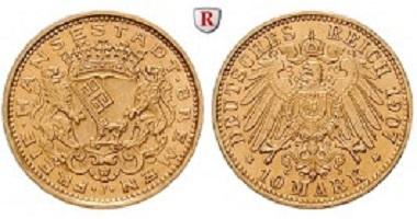 Deutsches Kaiserreich. Bremen. 10 Mark 1907 J. Prachtexemplar, st. 2.900 Euro