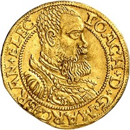 8: Brandenburg-Prussia. Joachim II, 1535-1571. Ducat 1560, Berlin. Almost extremely fine. Estimate: 60,000 euros. Hammer price: 100.000 euros.
