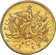 92: Brandenburg-Prussia. Frederick II the Great, 1740-1786. Double Friedrichs d'or 1753, Cleve. Extremely rare. Extremely fine. Estimate: 25,000 euros. Hammer price: 55,000 euros.