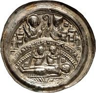 560: Magdeburg. Friedrich I von Wettin, 1142-1152. Bracteate ca. 1150, Halle. Very rare. Extremely fine. Estimate: 4,800 euros. Hammer price: 17,000 euros.