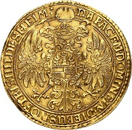 865: Hildesheim / City. Gold donative in the weight of 10 ducats no date (after 1618). Very rare. Very fine to extremely fine. Estimate: 50,000 euros. Hammer price: 120,000 euros.