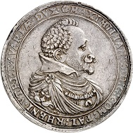 1028: Bavaria. Maximilian I, 1598-1651. Double reichstaler 1627, Heidelberg, for the Rhenish Palatinate. Very fine to extremely fine. Estimate: 40,000 euros. Hammer price: 80,000 euros.