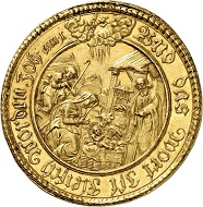 1134: Münster. Ferdinand of Bavaria, 1612-1650. 5 ducats 1638, Münster. Extremely rare. Extremely fine. Estimate: 50,000 euros. Hammer price: 80,000 euros.