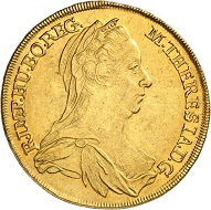 1318: Holy Roman Empire. Maria Theresa, 1740-1780. 4 ducats 1778, Vienna. Possibly only known specimen. Estimate: 25,000 euros. Hammer price: 120,000 euros.