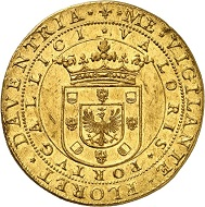 1425: Netherlands. Deventer / City. Portugaleser of 10 ducats no date (1640). Extremely fine+. Estimate: 200,000 euros. Hammer price: 240,000 euros.