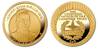 The Chief Kish-kallo-wa Proof Five Dollar Gold Coin - 1/5 oz. 999 gold.