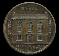 Obverse: Medal depicting Archbishop Richard Robinson, founder of Armagh library, now Armagh Robinson Library, 1771. Reverse: Medal commemorating the opening of Armagh library, 1771, depicting the library façade which is recognisably the same today. © Armagh Robinson Library