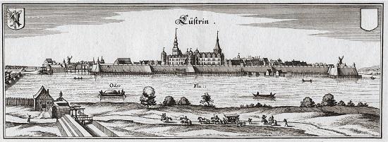 Ansicht der Stadt Küstrin nach Matthäus Merian von 1652.