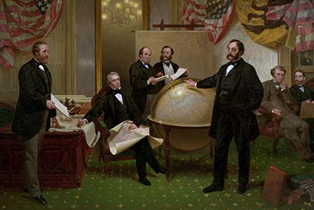 'The Alaska Purchase' by Emanuel Leutze showing Edouard de Stoeckl standing before globe. Reproduced by kind permission of the Seward House Museum, Auburn, NY