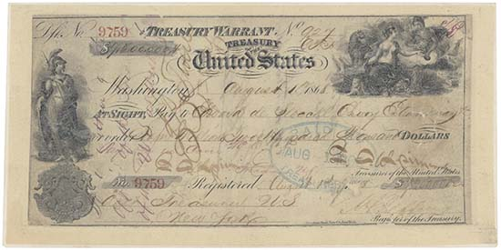 The Treasury Warrant in the amount of USD 7,200,000 for the purchase of Alaska, August 1, 1868. Reproduced by kind permission of the National Archives and Records Administration, Washington, DC.