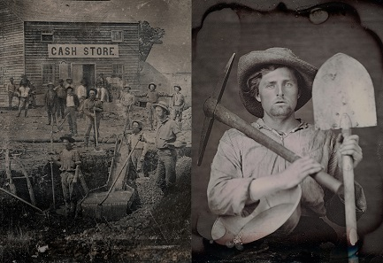 Left: Unknown photographer. Outdoor scene with a group of unidentified miners in front of a cash store. c. 1850. Daguerreotype. 1/2 plate (10.8 x 14 cm). // Right: Unknown photographer. Portrait of an unidentified man dressed as a miner with tools. c. 1851. Daguerreotype. 1/6 plate (8.3 x 7 cm).