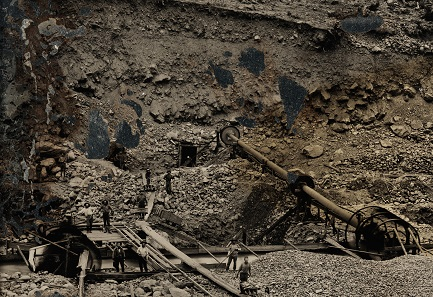 Unknown photographer. Outdoor view of a mining operation. c. 1856. Ambrotype. 1/4 plate (8.3 x 10.8 cm).