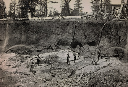 Unknown photographer. Outdoor view of a hydraulic mining operation. c. 1856. Daguerreotype. 1/2 plate (10.8 x 14 cm).