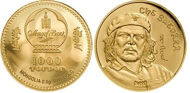 Mongolei / 1000 Togrog / Gold .9999 / 0,5g / 13.92 mm / Auflage: 5.000 Stück / Design: B. H. Mayer's Kunstprägeanstalt, München.