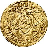 Adolph I. von Nassau, 1373-1390. Goldgulden o. J. (1386-1390), Bingen. Selten. Fast vorzüglich. Taxe: 750,- Euro. Aus Auktion Künker 305 (21. März 2018), Nr. 3766.