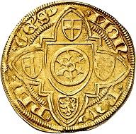 Konrad III. von Dhaun, 1419-1434. Goldgulden o. J. (1420/21), Bingen. Sehr schön. Taxe: 400,- Euro. Aus Auktion Künker 305 (21. März 2018), Nr. 3778.