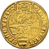 Dietrich II. von Isenburg zu Büdingen, 2. Herrschaft 1475-1482. Goldgulden o. J. (1475/6), Mainz. Selten. Sehr schön. Taxe: 500,- Euro. Aus Auktion Künker 305 (21. März 2018), Nr. 3787.