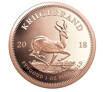 Eine Krügerrand-Münze (2018) aus der Rand Refinery. © Rand Refinery.