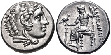 Lot 48: Kings of Macedon. Alexander III, 336-323 B.C. Drachm. Lampsakos. EF, lustrous. Estimate: 300 USD.